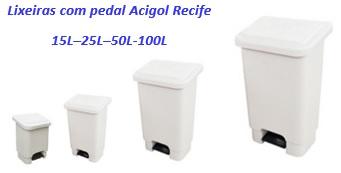 lixeiras com pedal Acigol 15l 25l 50l 100l