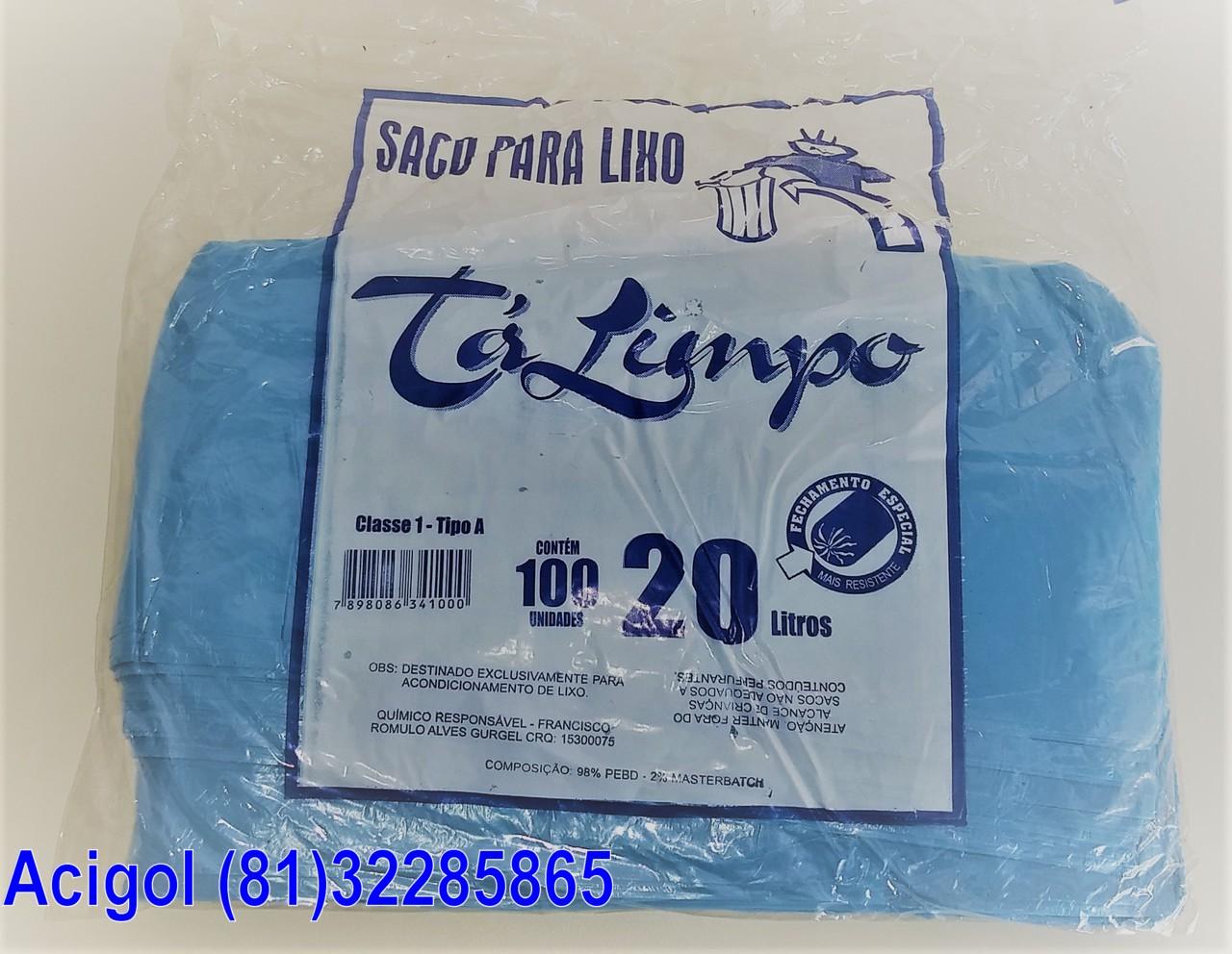 SACO PARA LIXO AZUL CAPACIDADE 20 LITROS PACOTE COM 100 SACOS-ACIGOL 81 32285865-IMG_20180107_141456703