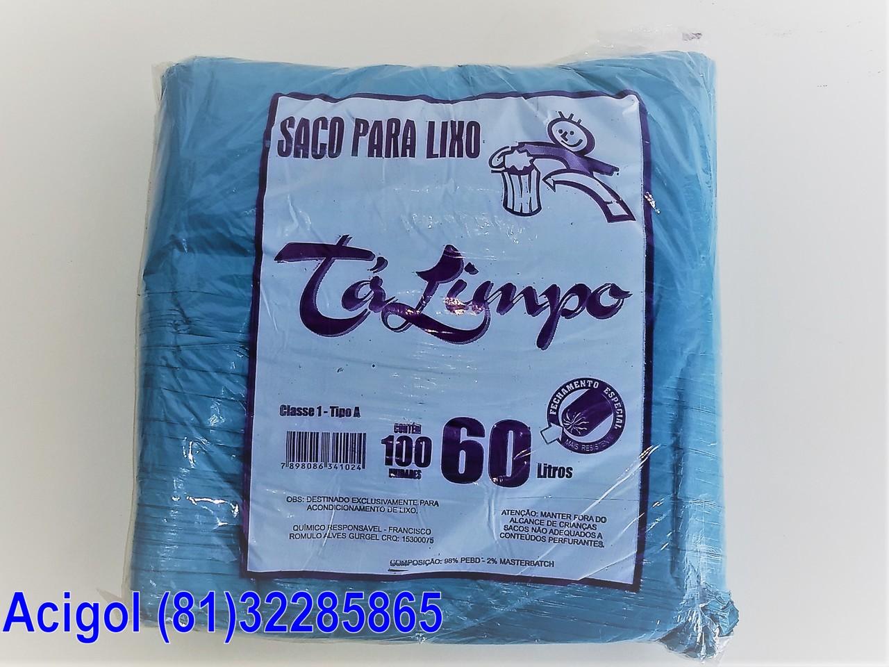SACO PARA LIXO AZUL CAPACIDADE 60 LITROS PACOTE COM 100 SACOS-ACIGOL 81 32285865-IMG_20180107_141236501