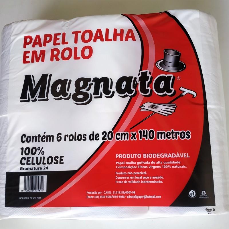 PAPEL TOALHA EM ROLO CELULOSE VIRGEM 24G MAGNATA COM 6 ROLOS DE 140M -IMG_20191218_123950